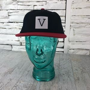 """Vans """"Big V"""" Baseball Adjustable Hat Red Blk 1424"""